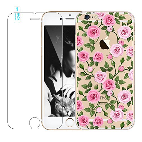 Galleria fotografica Cover iPhone 6 Plus/6s Plus [Pellicola Protettiva in Vetro Temperato], Bestsky Cute Cartone Animato Colorato Fiore Pattern Trasparente Gel Silicone Bumper Case Custodia Per iPhone 6 Plus/6s Plus, Fiore multicolore con Rondine