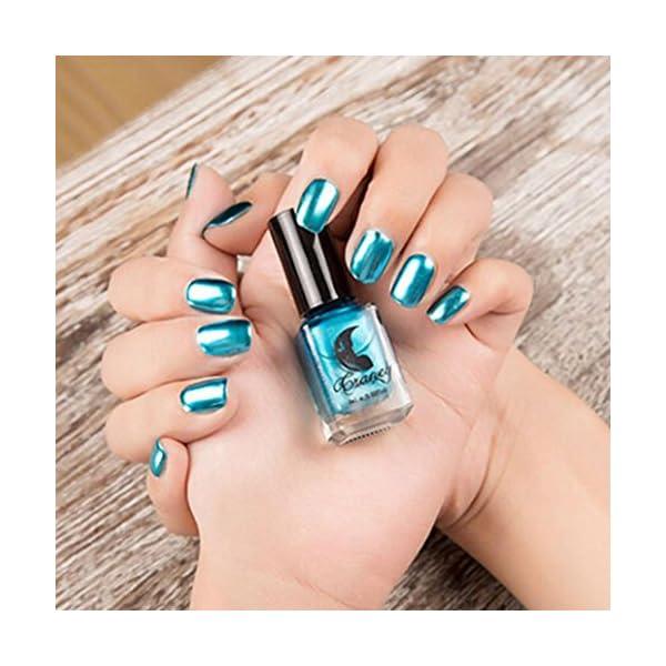 Beikoard esmalte de uñas efecto metalizado, color plateado para manicura artística, PP
