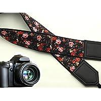 intepro Blumen Kameragurt. Roses Kamera Gurt. Schwarz DSLR Kamera Strap. Vintage Botanical Kameragurt. Kamera Zubehör. Langlebig, leichtes und gut gepolstert Kamera Strap. Code 00007