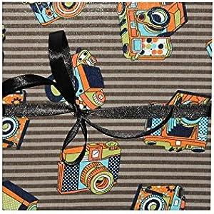 Leporello Fotoalbum mit Stoff 17x17 schwarze Seiten