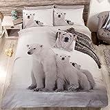 Just Contempo - Juego de funda nórdica y dos fundas de almohada, diseño de osos polares, color blanco y negro, mezcla de algodón, blanco/negro/gris, matrimonio