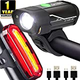 Yabife (Newest Version) USB Rechargeable Bike Light Set, 350 Lumens Bicycle Headlight +