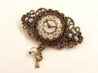 Petite pince à cheveux avec motif d'horloge Steampunk Accessoires cheveux