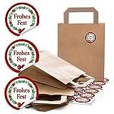 24 braune Kraftpapier Papiertüte Geschenktasche Henkel mit Boden 18 x 8 x 22 cm + 24 runde Aufkleber 4 cm FROHES FEST Kranz rot grün weihnachtliche Geschenk-Verpackung bio
