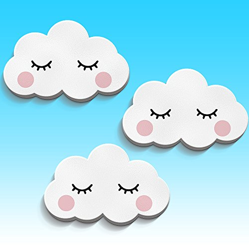 Luvel - (M6) - 3er-Set - 3D-Wolken Wandbilder Wandsticker Wandtattoo Kinderzimmer EYE Weiss (PINK CHEEKS)