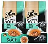 Sheba Adult Katzen-/Nassfutter, für erwachsene Katzen Classic Soup, mit Huhn und Thunfischfilets, 12 Portionsbeutel (12 x 40 g)