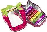 Markwins Fruity Geschenkdose in Erdbeerform- 6 Lippenpflegestifte in verschiedenen Geschmacksrichtungen, 1 Pack
