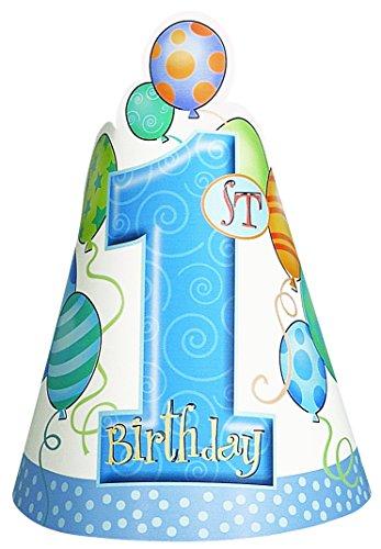 Blau Luftballons 1. Geburtstag Party Hüte, 8Stück (Baby-junge-geburtstag Party Supplies)