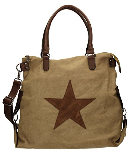 SwankySwans - Amber Star Large Canvas, Borse a Tracolla Donna Marrone (Marrone (Taupe))