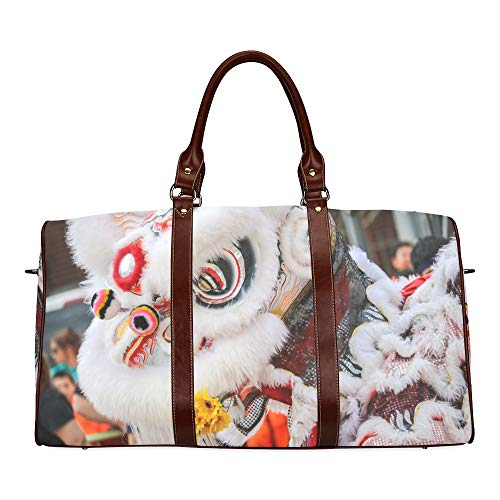 Parade Kostüm Drachen Chinesische - Reisetasche Dancing Lion Chinese New Year Parade wasserdichte Weekender-Tasche Reisetasche Frauen Damen-Einkaufstasche Mit Mikrofaser-Leder-Gepäcktasche