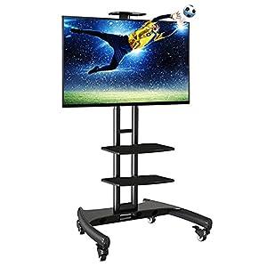 Fiber Novelty AVA-TP - Pied à roulettes réglable pour TV LCD / LED 81-165 cm avec deux tablettes