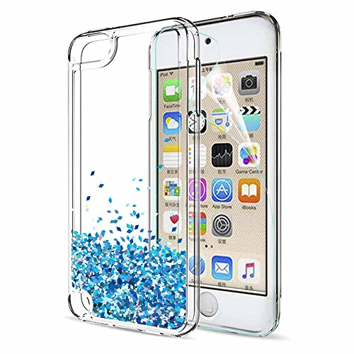LeYi Hülle iPod Touch 7th / 6th / 5th Glitzer Handyhülle mit HD Folie Schutzfolie,Cover Schutzhülle für Case iPod Touch 5th 6th 7th Handy Hüllen ZX TS Blau - Ipod Touch Handy