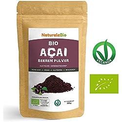 Açaí Beeren Pulver Bio [ Gefriergetrocknet ] 100g | Pure Organic Acai Berry Powder (Freeze-Dried) | 100% aus Brasilien, Getrocknet, Rohkost und Extrakt aus Pulp der Acai-Beeren Frucht | NATURALEBIO