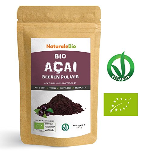Açaí Beeren Pulver Bio [ Gefriergetrocknet ] 100g | Pure Organic Acai Berry Powder ( Freeze - Dried ) | 100% aus Brasilien, Getrocknet, Rohkost und Extrakt aus Pulp der Acai-Beeren Frucht | Superfood Reich an Antioxidantien und Vitaminen | Ideal für Saft, Smoothie, Rezepte, in der Müsli | 100% Vegan Friendly | NATURALEBIO (Pure Berry Acai)