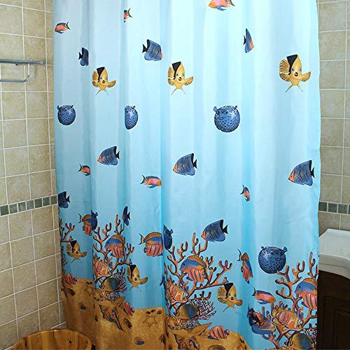 WARRAH Fische Duschvorhang Anti-Schimmel Textil Waschbar Duschvorhang Wasserdicht Polyester Badewanne Vorhang Verdicken Stoff 180x200cm mit 12 Duschvorhangringen