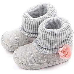 Para 3–11M zapatos de bebé, recién nacido niña hilo de lana de caliente patucos con flores botas altas Prewalker gris Talla:6-8M