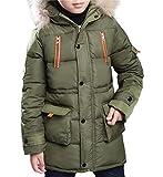 MILEEO Winterjacke für Jungen Jungen Baumwolle Mit Kapuze Jacke Wintermantel Mantel Parka Outerwear, Grün, EU 152-158/Asia 160