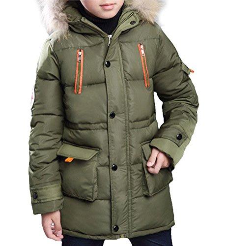 MILEEO Winterjacke für Jungen Jungen Baumwolle Mit Kapuze Jacke Wintermantel Mantel Parka Outerwear, Grün, EU 122-128/Asia 130