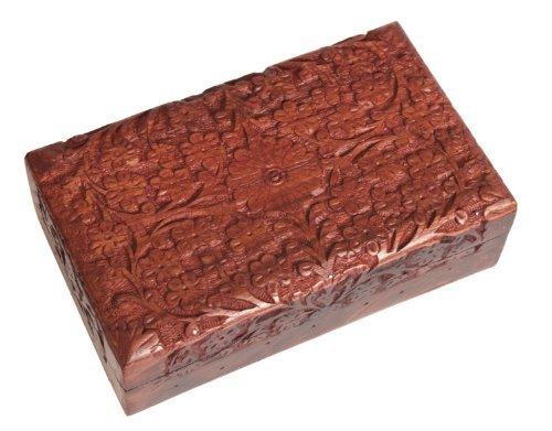 Store Indya - Handgefertigte Holz Schmuckkästchen Keepsake Storage Organizer Mehrzweckbox Schatztruhe Schmuckstück Halter für Frauen Männer Mädchen Hand Crafted Floral Design