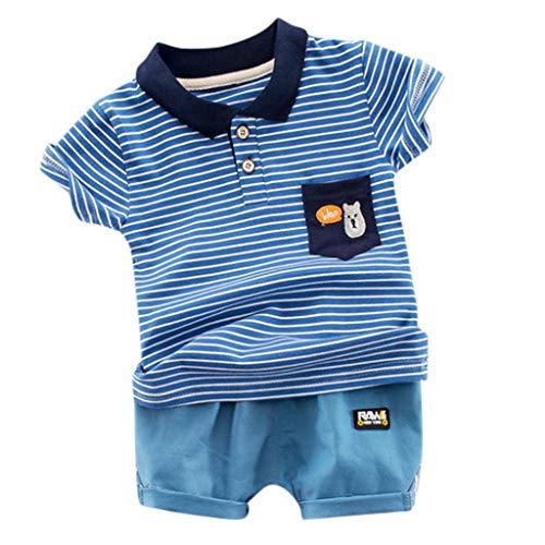 LEXUPE Kid Baby Boy Gentleman Streifen Tops T-Shirt + Shorts Outfit Set Kleidung(Blau,110)