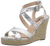 Buffalo 313508 QX3164, Damen Knöchelriemchen Sandalen mit Keilabsatz, Silber (SILVER), 40 EU