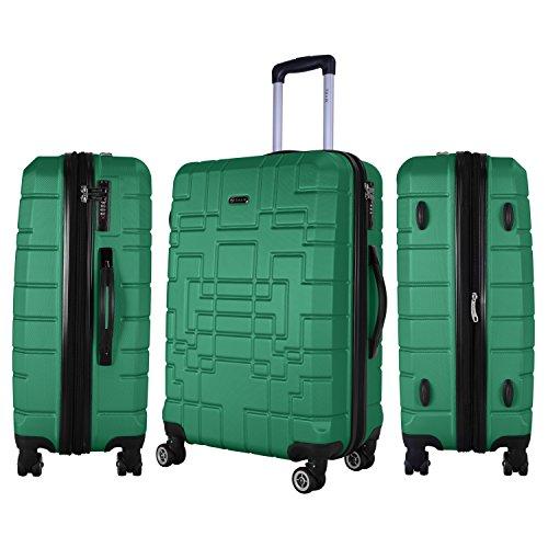 Shaik Serie XANO HKG Design Hartschalen Trolley, Koffer, Reisekoffer, in 3 Größen M/L/XL/Set 50/80/120 Liter, 4 Doppelrollen, TSA Schloss (Mittelgroßer Koffer L, Grün) - 2