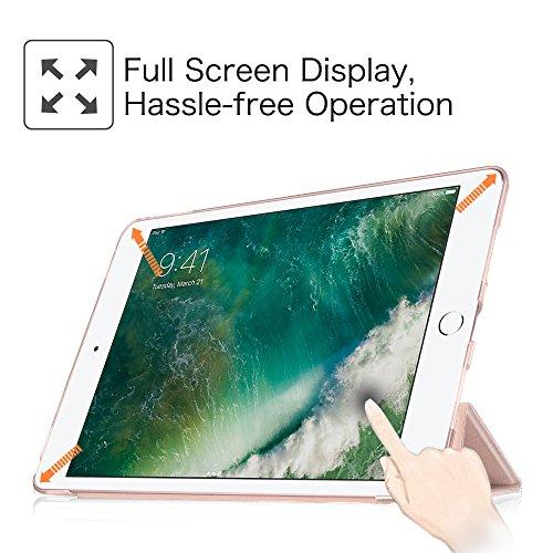 Fintie iPad 9.7 Zoll 2017 Hülle – Ultra Slim Superleicht Schutzhülle mit transparenter Rückseite Abdeckung Smart Case mit Auto Schlaf / Wach Funktion für Apple iPad 2017 Neue Modell, Roségold - 8