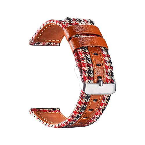 TianranRT Leinwand Leder Uhr Band Handgelenk Strap Canvas Uhrenarmband für Apple Watch Series 4 40/44MM (A, 44MM) - Band Canvas Leder Uhr
