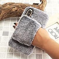 SevenPanda für Samsung Galaxy A3 (2017) Handschuh Hülle, Handheld Bling Diamant Netter Armband Case Warme Winter Handgemachte Weiche Plüsch Schutzhülle Bowknot Pelz Hair Tasche - Dunkelgrau