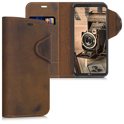 kalibri-Hlle-fr-LG-Q6-Echtleder-Wallet-Case-Schutzhlle-mit-Fach-und-Stnder-in-Braun