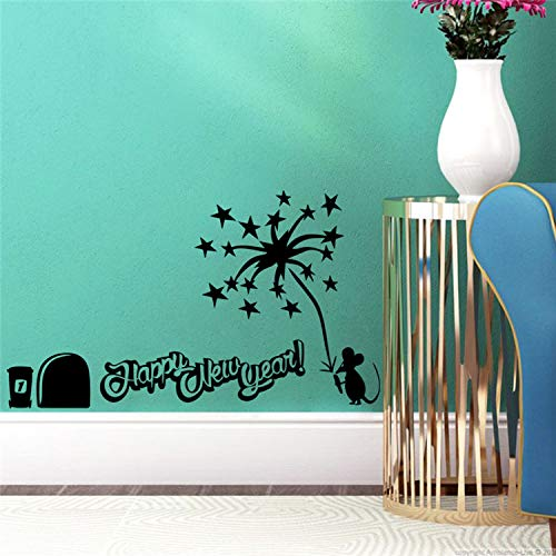 xsongue Wandaufkleber Kinder Tiny Mouse Happy New Year Letters Wall Stickers Living Room Vinyl Wall Art Home Decorations DIY 3D Animal Decals - Tiny Alphabet Sticker