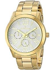 Reloj del vestido de las mujeres 7095WT analógico de cuarzo japonés de la pantalla reloj de pulsera de oro