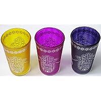 Set kenta 3 Vasos marroquies para el té con Dibujo Tradicional Mano de Fatima (Amarillo -Lila-Morado)