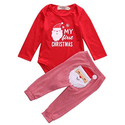 WangsCanis Neugeborenes Xmas Baby Junge Mädchen Erste Weihnachten Hirsch Weihnachtsmann Strampler + Gestreifte Hosen 2pcs Outfits Set, Weihnachtsmann, 3-6 Monate
