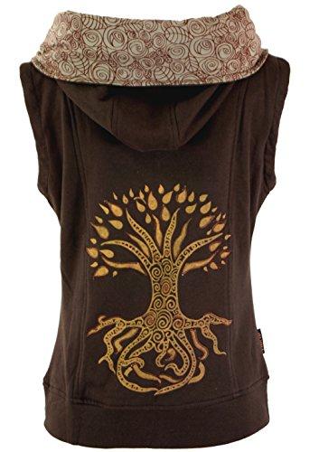 Guru-Shop Goa Weste Tree of Life, Damen, Baumwolle, Boho Jacken, Westen Alternative Bekleidung Braun