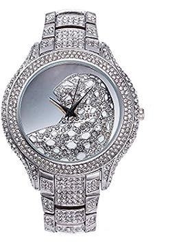 Sheli Damen Extragroßes Silber Entwerfer Leopard Prägeartiges Vorwahlknopf Bling Diamant-Uhr