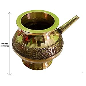 Salvus App SOLUTIONS Decorated Handmade Pooja Golden Karwa 4 Inches (Big Size)