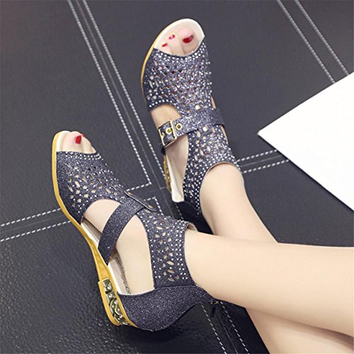 LHWY Damen Keil Sandalen Fashion Fish Mund Pumps Hollow out shoes Black