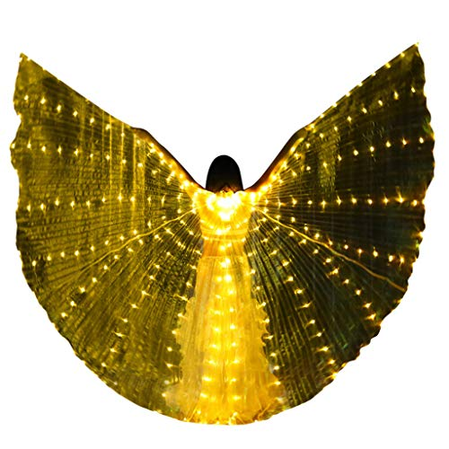 Cuteelf LED Lichter Wings Bauchtanz Kostüm Angel Isis Butterfly Wings und Teleskopstangen 360 Grad Bar Performance Dance Zubehör Requisiten Fairy Elf Halloween Christmas (Halloween 7 Kostüm Elf)