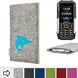 flat.design Handy Hülle für Cyrus cm 16 FARO mit Delphin handgefertigte Filz Tasche fair