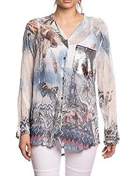 [Patrocinado]Abbino 12776 Blusas Tops para Mujer - Hecho en ITALIA - 3 Colores - Entretiempo Primavera Verano Otoño Mujeres...
