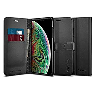 Spigen [Wallet S] iPhone Xs Max Case Cover 6.5 inch with Foldable Synthetic Leather with Kickstand Feature and Card Slot for iPhone Xs Max (2018) 6.5 inch - Black