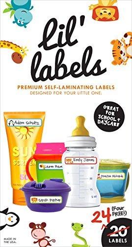 Lil 'étiquettes biberon Labels - Daycare étiquettes, inscriptible et lavable, Pochettes/Self-Laminating, enfants étiquettes