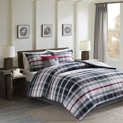 Black Forest Oversized Comforter Set Black/Red Twin