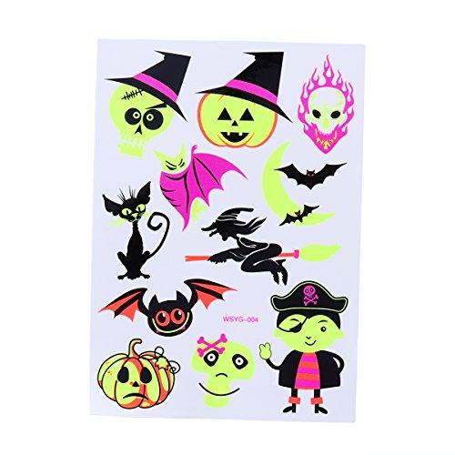 Tattoos Halloween Make-up für Jungen und Mädchen Fluoreszierend Kürbis Geist und Fledermaus Kunst Tattoos Kreative Aufkleber (038) ()
