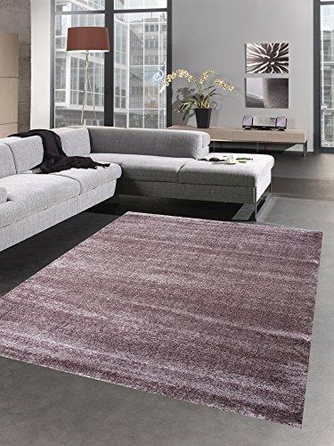 Moderner Teppich Wohnzimmerteppich uni einfarbig lila aubergine Größe 120x170 cm Teppich Aubergine