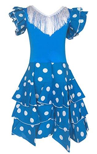 La Senorita Spanische Flamenco Kleid Niño Deluxe / Kostüm - für Mädchen / Kinder - Blau/Weiß (Größe 116-122 - Länge 80 cm- 6-7 Jahr)
