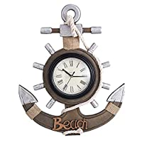 Baoffs-HomD Door Hanging Wall Ornament Retro Wall Clock, Mediterranean Style Handmade Wooden Wall Clock, Anchor Shaped Hanging Clock Wall Decoration Crafts Home Decoration Accessory for Kids