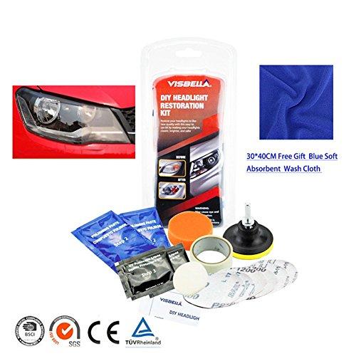 Kit de restauración de faros delanteros de coche, kit abrillantador y herramientas para lijar la cubierta de los faros opacos o con arañazos, apto para todos los vehículos