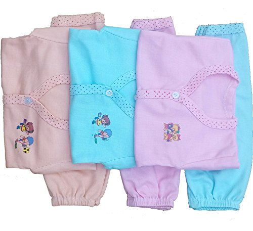 Babyblossom Baby Kid's Cotton Combo Pack Of 3 Clothing Set ( 3 Top And 3 Bottom) (1112,Multicolor,0-3 Months)